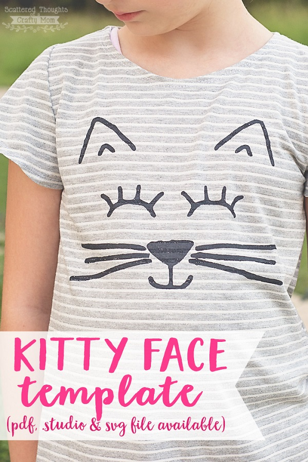 Free pattern: Kitty face stencil template