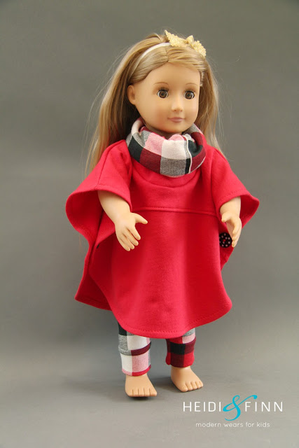 """Free pattern: Hooded or cowl poncho cape for an 18"""" doll"""