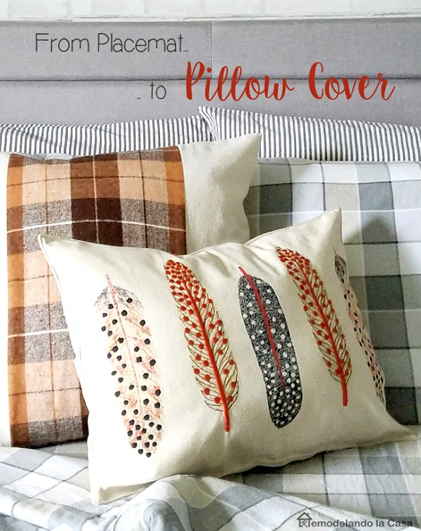 Tutorial: Easy throw pillow from a placemat