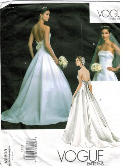 Vogue Pattern 2803 Bridal Wedding Bridesmaid Gown Original ...