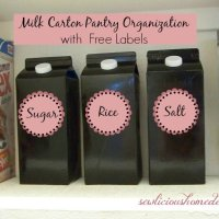 Milk Carton Pantry Organizers with Free Labels