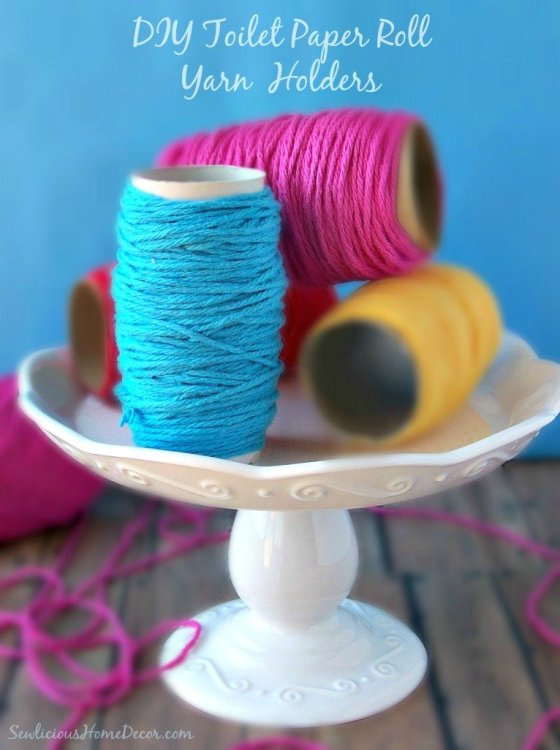 DIY Toilet Paper Roll Yarn Holders Sew Organized Recycled Tic Tac Containers to Yarn Containers