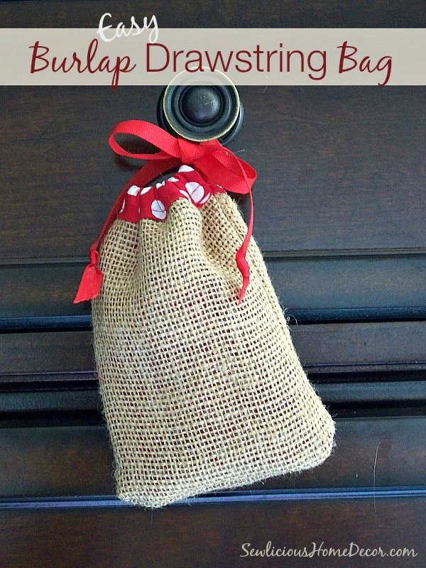 Easy Burlap Drawstring Bag Tutorial by sewlicioushomedecor.com  Easy Burlap Drawstring Bag Tutorial