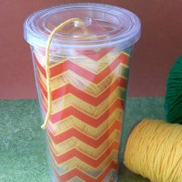 Sew Organized Dollar Store Cup to Yarn Container