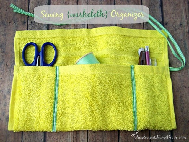 Sewing Washcloth Rollup Organizer Tutorial at sewlicioushomedecor.com  Sewing Embroidery Hoop Organizer