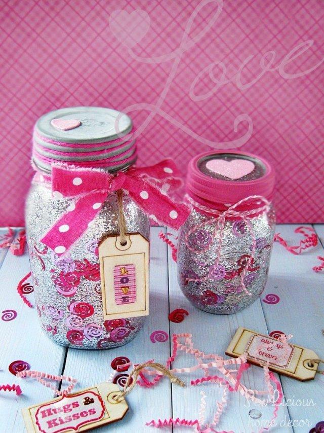 DIY Confetti Glitter Valentine Mason Jars sewlicioushomedecor.com