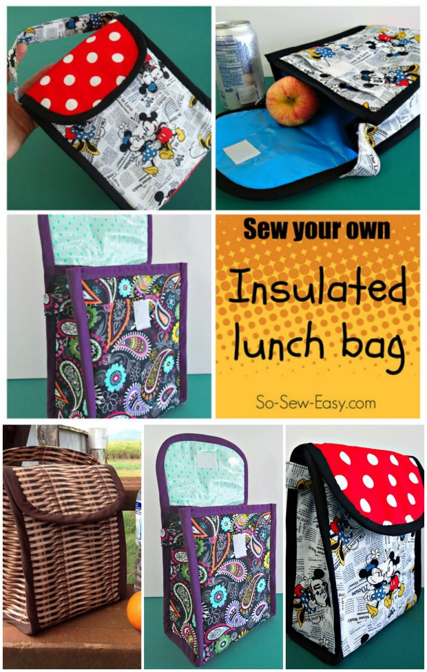 Sewing pattern and video tutorial for how to sew your own insulated (and wipe clean) lunch bag.