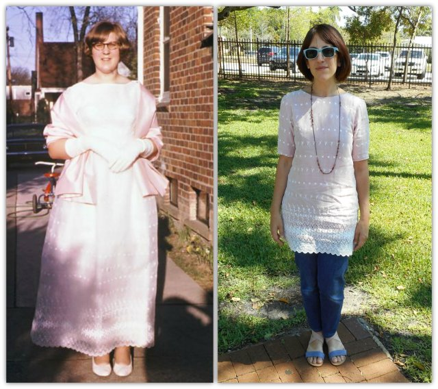 Then and Now- 1969 + 2016 My mother and I-Lovely Laurel Vintage Prom Dress Refashion