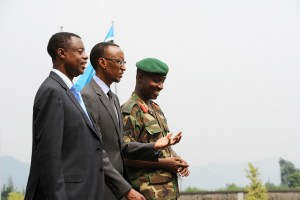 Rwandan Defense Minister James Kabarebe, President Paul Kagame, Chief of Land Forces Gen. Charles Kayonga