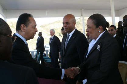 Haiti President Michel Martelly, wife greet Jean-Claude Duvalier at Titanyen earthquake commemoration ceremony 011212 by