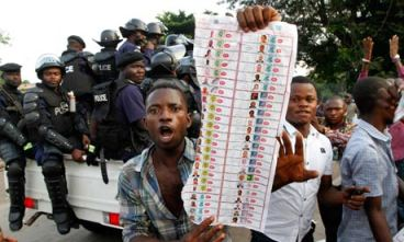 Congo election opposition protests fraudulent ballots Kinshasa 112811 by Jerome Delay, AP