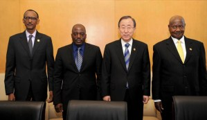 Paul Kagame, Joseph Kabila, Ban Ki-moon, Yoweri Museveni at African Union