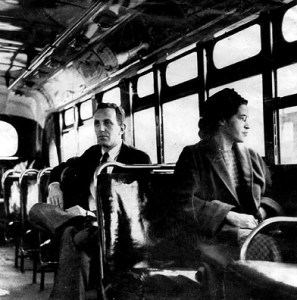 Rosa Parks sits in front of bus after Supreme Ct outlaws Montgomery bus segregation 122156 by UPI