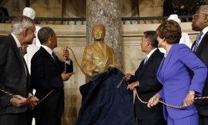 Rosa Parks statue unveiled Capitol Statuary Hall Sen. Harry Reid, Pres. Obama, Speaker Boehner, Reps. Nancy Pelosi, Jame