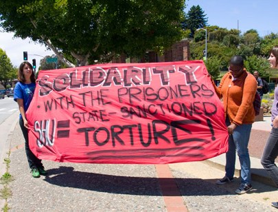 Hunger strike support march 'Solidarity with the prisoners, SHU = state sanctioned torture' Santa Cruz 072311 by Bradley