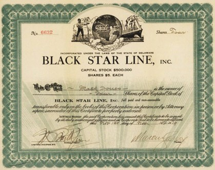 Black Star Line $5 share Marcus Garvey signature