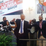 Chokwe Lumumba, son Chokwe Antar, daughter Rukia, supporters celebrate mayoral victory 060513