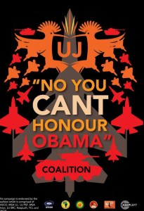 UJ (Univ of Johannesburg) 'No you can't honour Obama' Coalition logo