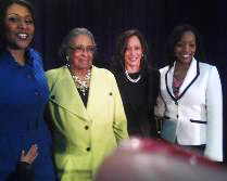 London Breed, Willie Kennedy, Kamala Harris, Malia Cohen at London's swearing-in 010813