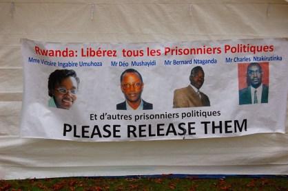 Release Rwanda political prisoners banner Victoire Ingabire, Bernard Ntaganda, Deo Mushayidi, Charles Ntakirutinka
