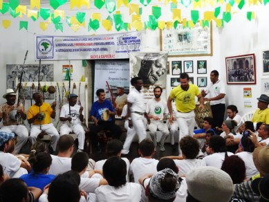 Capoeira studio, pic of Vicente Ferreira Pastinha, founder of Capoeira Angola, on wall Salvador Bahia 1213 by Wanda, web