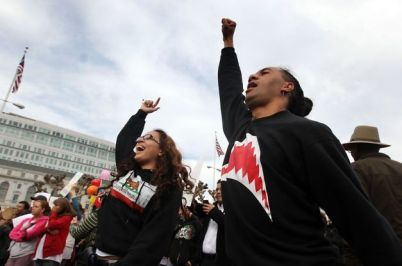 City College rally City Hall Vanessa Taito, Spencer Pulu 031413 by Lance Iversen, SF Chron