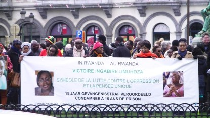 Victoire Ingabire supporters protest outside European Parliament 022214