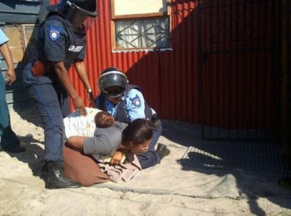 Marikana mother, baby violently evicted 050113 by Jared Sacks, Abahlali