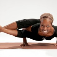 Anasa Yoga teacher Tia Ukpe-Wallace in advanced yoga pose, astavakrasan, which demands strong core, web