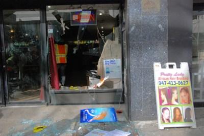 NYPD throw teenage girl through restaurant window 040414 by Brooklyn Paper