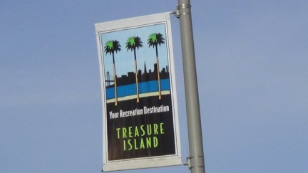 'Treasure Island Your Recreation Destination' sign, web