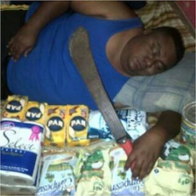 Venezuela tweet sleeping Black man machete