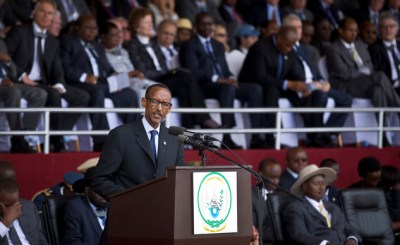President Kagame addresses the crowd in the Amahoro Stadium April 7. – Photo: Ben Curtis, AP