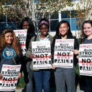 Members of Project WHAT! mobilize to Sacramento to oppose more jail funding. Project WHAT! is led by youth who have had a parent incarcerated and sponsored by Oakland-based Community Works West.