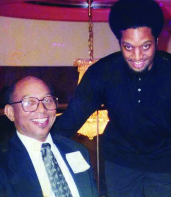 SF Bay View publisher Willie Ratcliff and columnist Kevin Weston at an early New American Media banquet in about 1996