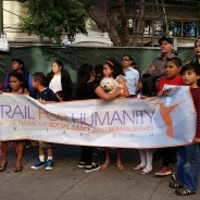 The Trail for Humanity send-off rally in Oakland's Fruitvale was more determined than celebratory – the adults resolute, the children a little apprehensive – as they prepare to walk 300 miles to the U.S.-Mexico border. – Photo: Al Osorio