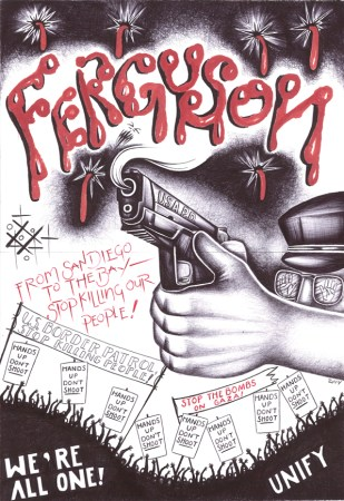 """Ferguson"" – Art: Criss Garcia, J-93559, Pelican Bay SHU C1-112, P.O. Box 7500, Crescent City CA 95532 (Click to enlarge)"
