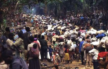 Rwandan refugees near Kisangani, in the Democratic Republic of the Congo (DRC), 1997. More than a million Rwandans crossed into DRC fleeing General Paul Kagame's army in 1994. More, both Hutu and Tutsi, followed later to escape Kagame's repressive regime.