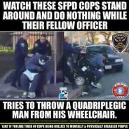 SFPD tries to tip Bo Frierson out of wheelchair 011815 poster