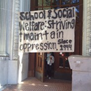 The courageous students hung this banner outside Haviland Hall.