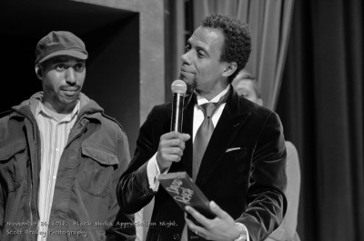 A highlight of the Bay View's first Black Media Appreciation Night, held Nov. 26, 2012, at Yoshi's in Oakland, was the presentation of an award for the festival to David Roach by Sauce the Boss, then a regular on the Block Report Radio show on KPFA. – Photo: Scott Braley
