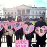 Mothers of victims of police murders stand outside of the White House following a refusal by Obama to meet with them in December 2014.  – Photo: Code Pink