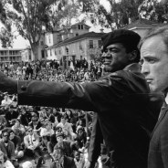 Lil Bobby Hutton, the youngest member of the Black Panther Party, was shot down in cold blood by Oakland police two days after the assassination of Dr. Martin Luther King in April 1968. Thousands filled the shore of Lake Merritt for a memorial rally, where Marlon Brando spoke. Here he is at the rally with Panthers cofounder Bobby Seale.