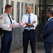 "Responding to the movement begun by the California prisoners' hunger strikes in 2011 and 2013 to stop mass incarceration and longterm solitary confinement, President Obama became the first sitting president to visit a federal prison, where he met with a group of prisoners. Afterward, he asked Attorney General Loretta Lynch to ""start a review of the overuse of solitary confinement across American prisons."" Accompanying the president is Federal Bureau of Prisons Direct Charles Samuels (right). – Photo: NBC News"