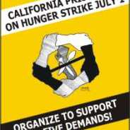 "This flier announcing the first of three historically huge hunger strikes uses the ""logo"" created for the strike by an artist who has grown famous in prison, Kevin ""Rashid"" Johnson, then caged in Virginia and punished for his activism by expulsion to other states' prisons, first Oregon and now Texas."