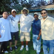 Village elders celebrate the upcoming birth of Amir: Verneen Golson, Morris Turner, William Newman, and proud grandpa Clarence Penney. – Photo: Morris Turner