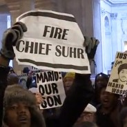 Protesters gathered outside Mayor Ed Lee's office, wanting to demand the firing of Police Chief Greg Suhr. Told the mayor was on vacation, they vowed to return. – Video frame: KRON