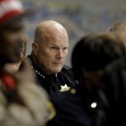 Two days after the killing of Mario Woods, at a Dec. 4, 2015, town hall meeting held by SFPD, San Francisco Police Chief Greg Suhr listens to Bayview Hunters Point residents condemn his police force as occupiers and executioners. – Photo: Michael Macor, SF Chronicle