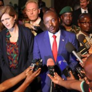 At a press conference held Jan. 22 by Burundian President Pierre Nkurunziza, center, U.S. Ambassador to the U.N. Samantha Power stands to his left, Angolan Ambassador to the U.N. Ismael A. Gaspar Martins to his right. – Photo: Reuters
