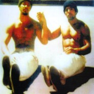 Two legends, Khatari Gaulden and Hugo Pinell, sit in the sunshine on the San Quentin yard in 1976. – Courtesy Kiilu Nyasha